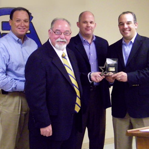 "CAPTION: (From Right to Left) State Representative Chris Turner receiving CLEAT's ""Best of House"" award from Arlington Police Association President Randle Meadows,  Charley Wilkison, CLEAT's Director of Public Affairs, and Tony Molina, Vice President of the Arlington Police Association."